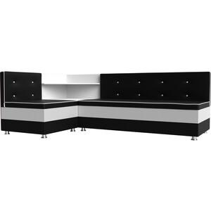 Кухонный диван АртМебель Милан эко-кожа черно-белый левый