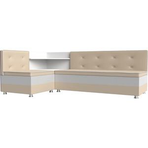 Кухонный диван АртМебель Милан эко-кожа бежевый-белый левый