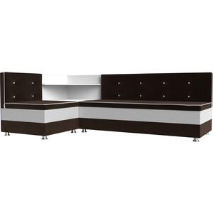 Кухонный диван АртМебель Милан микровельвет коричнево-белый левый