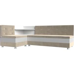 Кухонный диван АртМебель Милан микровельвет бежевый-белый левый офисный диван милан sofa