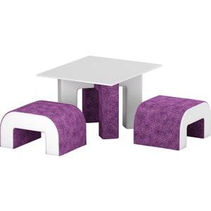 Обеденная Группа АртМебель Кармен микровельвет фиолетовый/белый