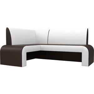Кухонный диван АртМебель Кармен эко-кожа коричнево/белый левый