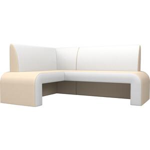 Кухонный диван АртМебель Кармен эко-кожа бежевый/белый левый