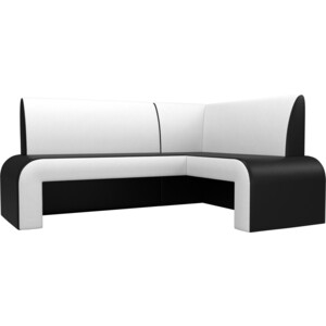 Кухонный Диван АртМебель Кармен эко-кожа черный/белый правый кухонный диван артмебель кармен эко кожа черный белый правый