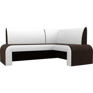 Кухонный Диван АртМебель Кармен микровельвет коричневый/белый правый кухонный диван артмебель лина микровельвет коричневый