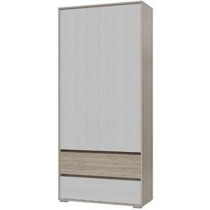 Шкаф 2-х дверный с ящиками Гранд Кволити МАЛЬТА 4-4812 Дуб сонома/Рамух белый