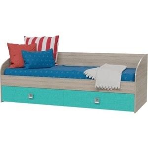 Кровать односпальная с двумя ящиками Гранд Кволити 4-2001 дуб сонома/аква хай вэй 2001 небольшой случайный цвет пэт кровать