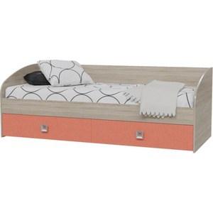 Кровать односпальная с двумя ящиками Гранд Кволити Сити 4-2001 дуб сонома/коралл кровать гранд кволити мальта 4 1815 дуб сонома рамух белый 160 см
