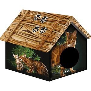 Домик PerseiLine Дизайн Бенгальский кот для кошек 33*33*40 см (31130/ДМД-1) домик perseiline кошка для кошек 38 40 40 см 00025 дмс 4