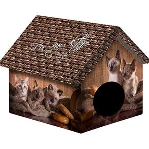 Домик PerseiLine Дизайн Котята и мешковина для кошек 33*33*40 см (00094/ДМД-1) домик perseiline кошка для кошек 38 40 40 см 00025 дмс 4
