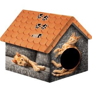 Домик PerseiLine Дизайн Рыжий кот для кошек 33*33*40 см (00124/ДМД-1) домик perseiline кошка для кошек 38 40 40 см 00025 дмс 4