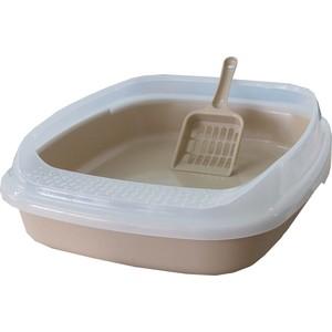 Туалет Makar средний с бортом без решетки бежевый для кошек 46х36х11 см (МАК02) bergamo туалет средний с бортами для кошек 45х35х10 см