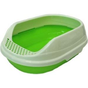 Туалет HomeCat средний оальный зеленый комплекте с соком 52х38х17 см