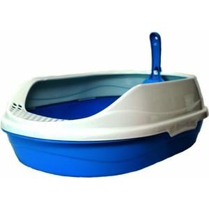 Туалет HomeCat средний овальный голубой в комплекте с совком для кошек 52х38х17 см bergamo туалет средний с бортами для кошек 45х35х10 см
