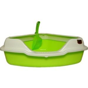 Туалет HomeCat угловой с бортиком зеленый в комплекте с совком для кошек 56х42х18 см