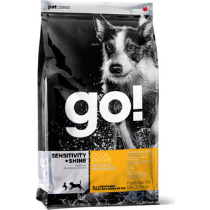 Сухой корм GO! Dog SENSITIVITY+SHINE Duck Recipe с уткой для щенков и собак с чувствительным пищеварением 2,72кг (10093) корм go fit free grain free dog recipe turkey chicken trout duck 2 72 кг