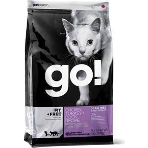 Сухой корм GO! Cat FIT+FREE Grain Free Chicken, Turkey+Duck Recipe беззерновой с курицей, индейкой и уткой для котят и кошек 1,82кг (20031)