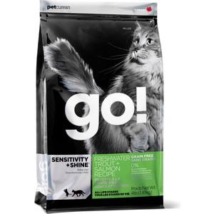 Фотография товара сухой корм GO! Cat SENSITIVITY+SYINE GF Trout+Salmon Recipe с форелью и лососем для котят и кошек с чувствительным пищеварением 1,82кг (20035) (695647)