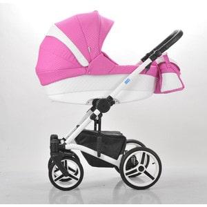 Коляска Mr Sandman West-East Premium (2 в 1) 50% Эко кожа Белый Перфорированный - Розовый в Принт (KMSWEP50-0735CH01) коляска mr sandman guardian 2 в 1 графит серый kmsg 043601