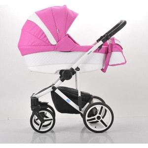 Коляска Mr Sandman Vector Premium (3 в 1) 50% кожа Белый Перфорированный - Розовый в Принт (KMSVP50-0712CH01)