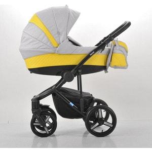 Коляска Mr Sandman Vector Premium (3 в 1) 50% кожа Жёлтый Перфорированный - Светло-Серый (KMSVP50-0712CH08)