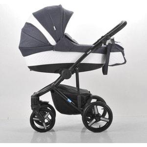 Коляска Mr Sandman Vector Premium (3 в 1) 50% кожа Белый Перфорированный - Темно-Синий (KMSVP50-0712CH11)