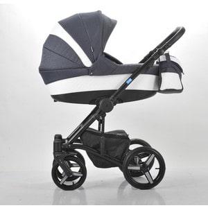 Коляска Mr Sandman West-East Premium (3 в 1) 50% Эко кожа Белый Перфорированный - Темно-Синий (KMSWEP50-0736CH11) коляска 3 в 1 rant aura s line 02 темно синий