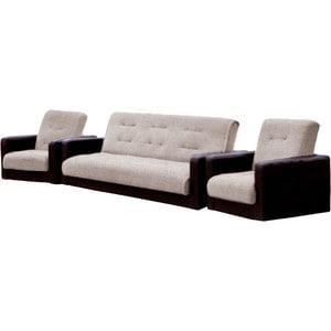 Комплект Стоффмебель (ЛМФ) (диван+ 2 кресла) Лондон рогожка бежевая шатура комплект лондон 2 рогожка микс бежевая диван 2 кресла