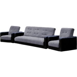 Комплект Стоффмебель (ЛМФ) (диван+ 2 кресла) Лондон рогожка серая шатура диван лондон рогожка бежевая 2 подушки в подарок