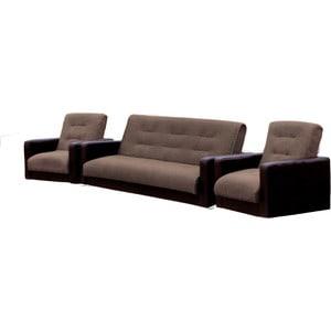 Комплект Стоффмебель (ЛМФ) (диван+ 2 кресла) Лондон рогожка микс коричневая шатура диван лондон рогожка бежевая 2 подушки в подарок