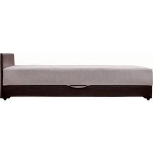 Кровать Стоффмебель (ЛМФ) Атлантида рогожка бежевая, экокожа темно-коричневая 160x200 атлантида