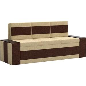 Кухонный диван АртМебель Лина Микровельвет (бежво/коричневый) кухонный диван артмебель лина микровельвет коричневый