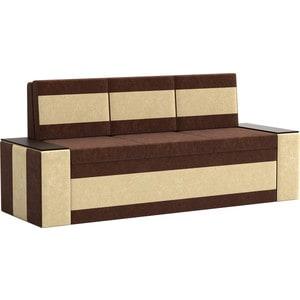 Кухонный диван АртМебель Лина Микровельвет (коричнево/бежевый) кухонный диван артмебель лина микровельвет коричневый