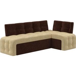 Кухонный угловой диван АртМебель Люксор микровельвет (бежево/коричневый) угол правый