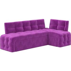 Кухонный угловой диван АртМебель Люксор микровельвет (фиолетовый) угол правый кухонный угловой диван артмебель кристина микровельвет черно фиолетовый правый