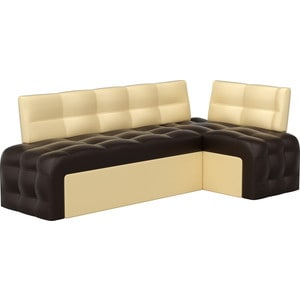 Кухонный угловой диван АртМебель Люксор эко-кожа (коричнево/бежевый) угол правый диван кровать смк дюссельдорф 147 б 2д у1пф правый угол 352 alba ash