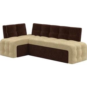 Кухонный угловой диван АртМебель Люксор микровельвет (бежево\коричневый) угол левый угловой диван артмебель андора ткань левый