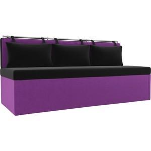 Кухонный диван АртМебель Метро микровельвет черно-фиолетовый