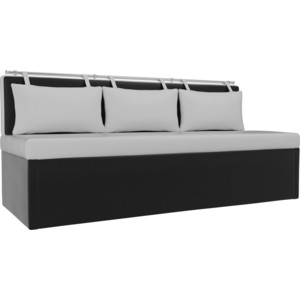 Кухонный диван АртМебель Метро эко-кожа (белыйчерный)
