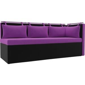 Кухонный угловой диван АртМебель Метро микровельвет (фиолетово\черный) угол правый