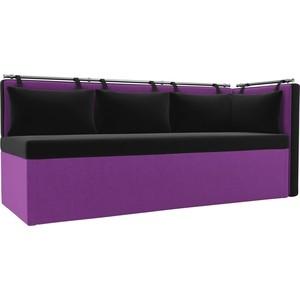 Кухонный угловой диван АртМебель Метро микровельвет (черно\фиолетовый) угол правый