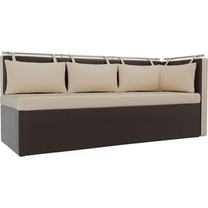 Кухонный угловой диван АртМебель Метро эко-кожа бежево-коричневый угол правый