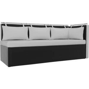 Кухонный угловой диван АртМебель Метро эко-кожа белый-черный угол правый