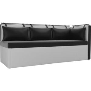 Кухонный угловой диван АртМебель Метро эко-кожа черно-белый угол правый