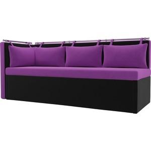 Кухонный угловой диван АртМебель Метро микровельвет (фиолетово\черный)угол левый