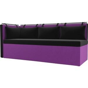 Кухонный угловой диван АртМебель Метро микровельвет (черно\фиолетовый) угол левый