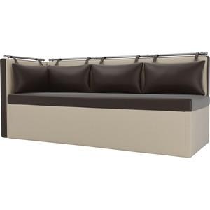Кухонный угловой диван АртМебель Метро эко-кожа (коричнево\бежевый) угол левый