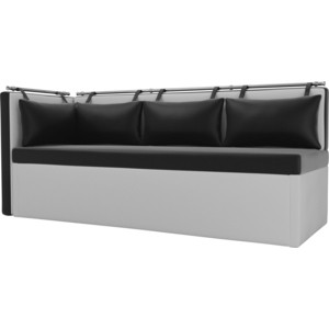 Кухонный угловой диван АртМебель Метро эко-кожа (черно\белый) угол левый