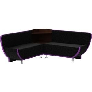 Кухонный угловой диван АртМебель Лотос микровельвет (черно/фиолетовый) угол правый кухонный угловой диван артмебель кристина микровельвет черно фиолетовый правый