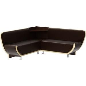 Кухонный угловой диван АртМебель Лотос эко-кожа (коричнево/бежевый) угол правый